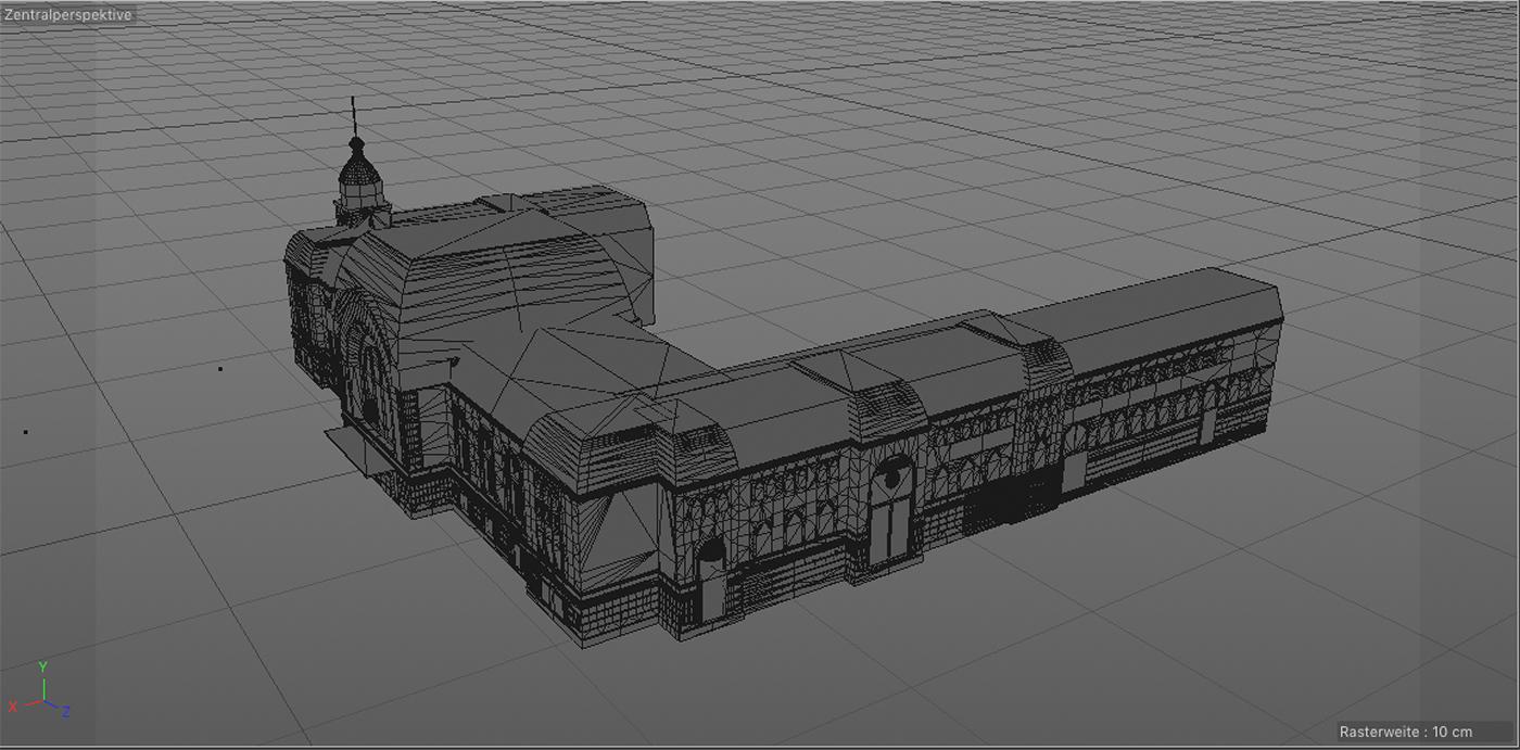 3D-Modell des historischen Kieler Hauptbahnhofs