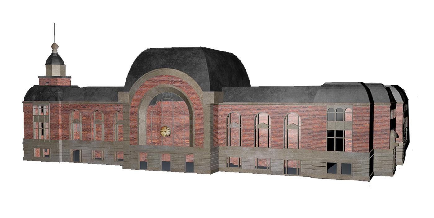 3D-Modell des historischen Kieler Hauptbahnhofs mit Texturen