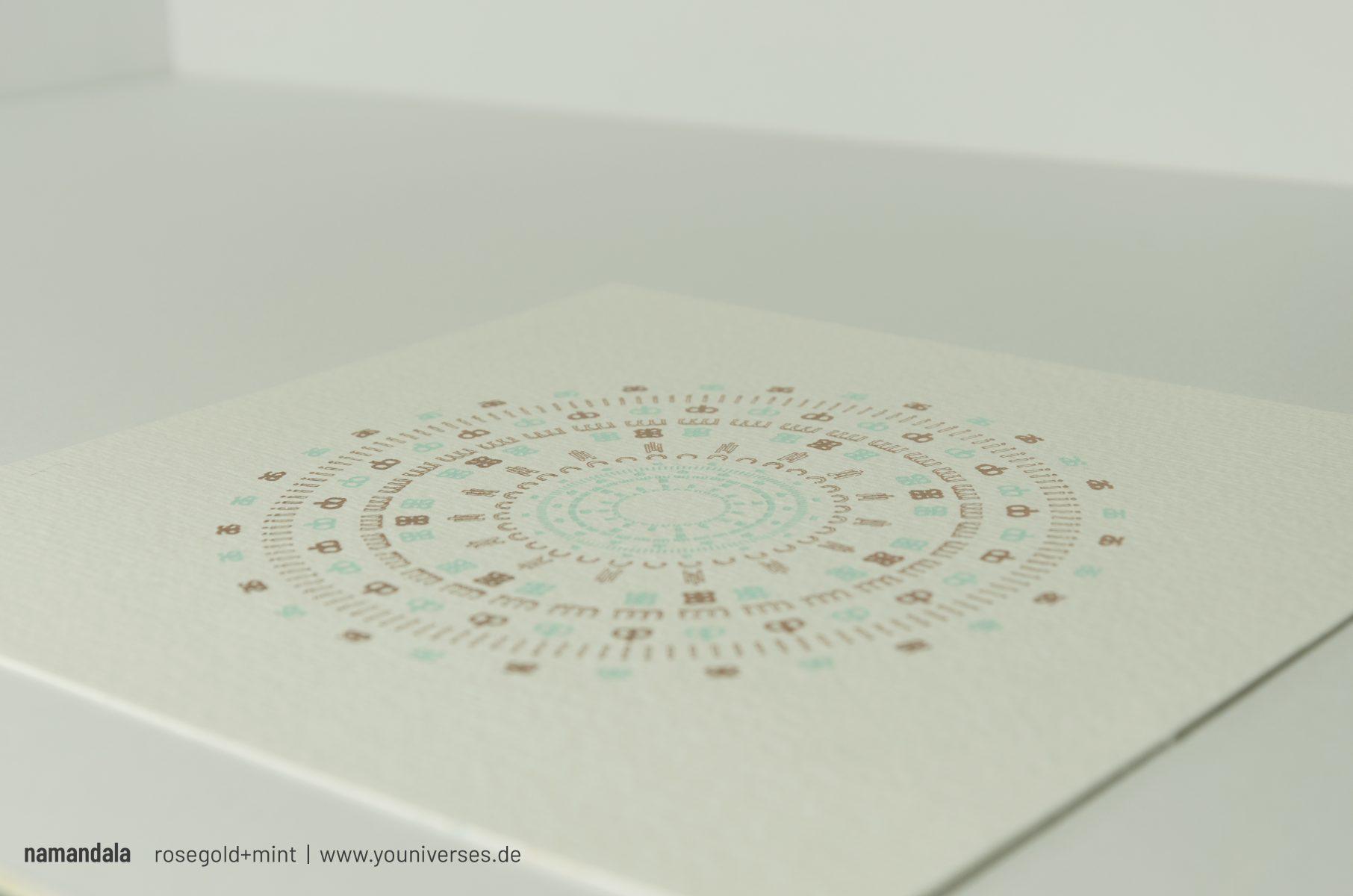 Wunderschöne EInzelstücke: namandalas. Der Wunschname wird individualisiert in Form eines Mandalas veredelt. UNIKAT. Persönlich. Jedes Stück wird in liebervoller Handarbeit produziert.